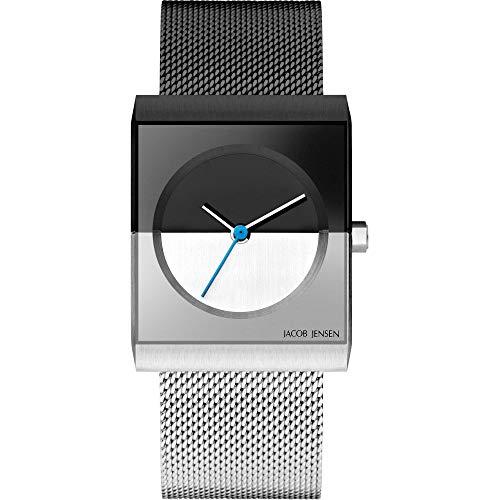 Jacob Jensen Damen Analog Quarz Uhr mit Edelstahl Armband JJ525