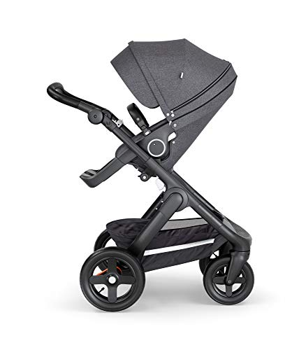 Stokke Trailz Black Melange Baby Stroller with Terrain Wheels and Black Leatherette Handle