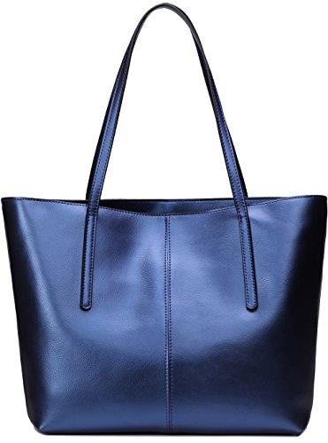 Covelin Women's Handbag Genuine Leather Tote Shoulder Bags Soft Hot Blue