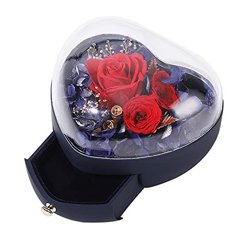 F Fityle Cajas de de flor de rosa preservadas para flores preservadas Regalos de rosa con caja de regalo de joyería Regalos de San Valentín para mamá - Azul