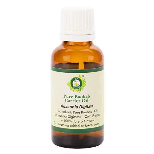 R V Essential Aceite Carrier Baobab Puro 10ml (0.338oz)- Adansonia Digitata (100% puro y natural Prensado en frío) Pure Baobab Carrier Oil