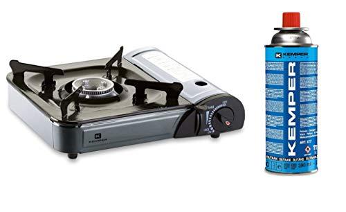 Kemper - Hornillo de gas portátil de mesa con maletín para el transporte + 1 bombona de gas