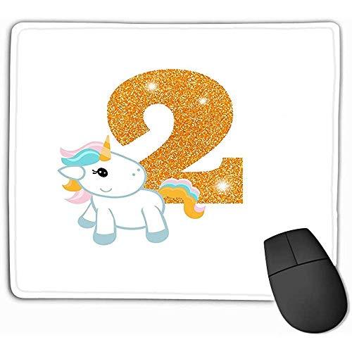 Family Mouse Pad,Standaardformaat Rechthoek Anti-lip Rubber Mousepad 30X25CM Verjaardag Verjaardag Verjaardagsnummer Leuke Eenhoorn Goud Glittering Twee Sjabloon Wenskaarten Kleurrijk