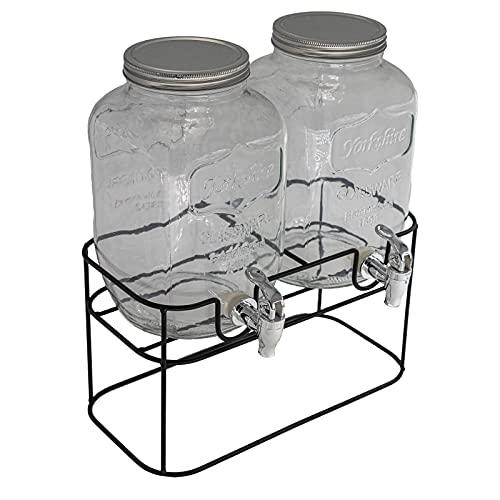 DRULINE 2er Set 4L Hochwertiger Getränke Spender aus Glas mit Ständer, Zapfhahn und Gestell Saftspender Dispenser Getränkespender Wasserspender Limonadenspender Trinkspender Schorle