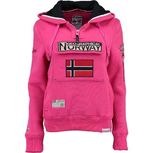 Geographical Norway GYMCLASS LADY - Sudadera Mujer Bolsillos Kangaroo - Sudadera Caliente Mujer - Suéter Abrigos Manga Larga - Hoodie Tops Casual Abrigo Estilo PINK FLASH M - TALLA 2