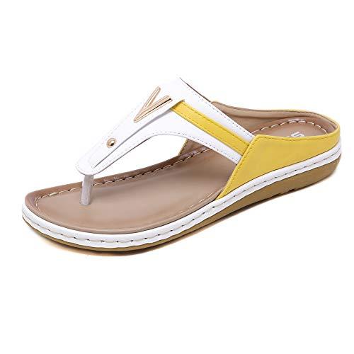Damen Mode Sandalen Lässige Flip-Flops Zehentrenner Atmungsaktive Hausschuhe Bequeme Strandschuhe für Frauen im Sommer