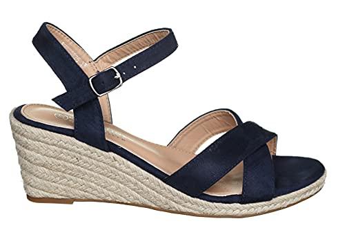 La Bottine Souriante - Sandale compensée Bhyy0826 Navy - Taille 40 - Couleur Bleu