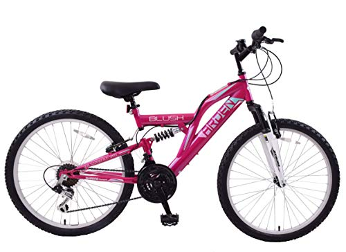 Arden Blush 24' Wheel Girls Kids Mountain Bike Full Dual Suspension 21...
