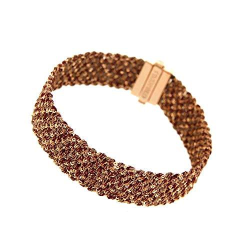 Etru Jewels Damen-Armband Small 1,5 cm Silber Pink und Stoff Bordeaux+Puder Verschluss Nein Nickel