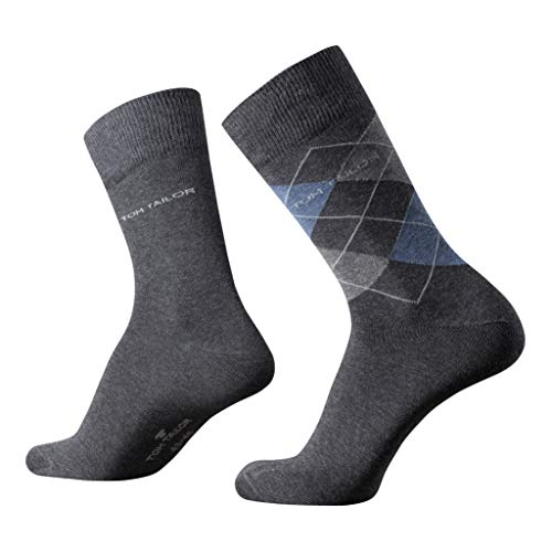 TOM TAILOR Herren Socken 2er Pack Argyle + uni, Size:43-46