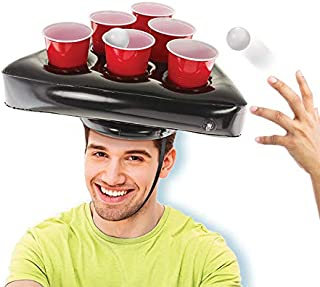 Kovot Pong Hat Game Set   Includes (2) Inflatable Pong Hats (12) 16oz Red Cups (2) Pong Balls & Game Rules