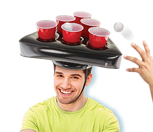 Kovot Pong Hat Game Set | Includes (2) Inflatable Pong Hats (12) 16oz Red Cups (2) Pong Balls & Game Rules