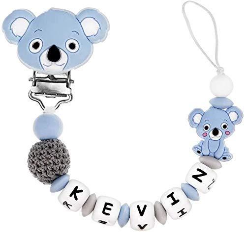 Attache Sucette Personnalisée Bébé Silicone, clip et morceaux de silicone antibactérien Sucette Koala (Bleu)
