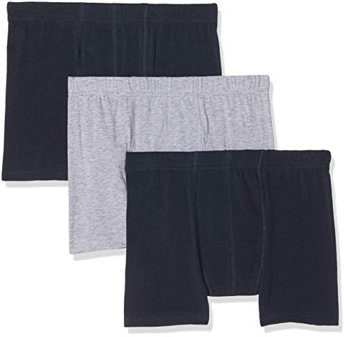 NAME IT Jungen NKMTIGHTS 3P SOLID NOOS Boxershorts (3-er Pack), Mehrfarbig (Grey Melange), 134