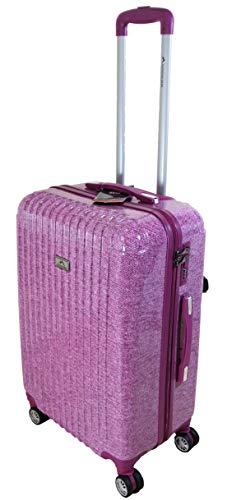Kwalitatief sterke roze koffers in 3 maten met sloten