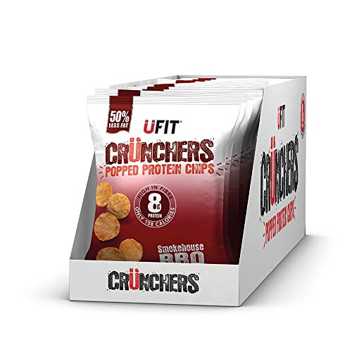 UFIT Crunchers Popped Chips, High Protein Healthy Crisps - Smokehouse BBQ Flavour (Box of 11 x 35g)