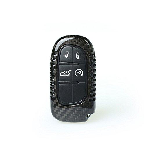 M.JVisun Carcasa de fibra de carbono para Dodge/Jeep llavero, verdadera fibra de carbono cubierta para Jeep Cherokee/Dodge RAM Smart Keyless Fob llave remota