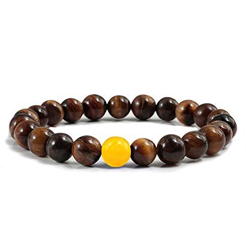 THTHT Trendy mannenarmband natuursteen tijgeroog 8 mm kralen armbanden charme vrouwen geel handgemaakt yoga gebedsarmband 18 cm