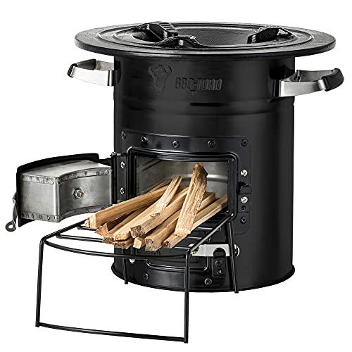 BBQ-Toro Raketenofen Rakete #2 I Rocket Stove für Dutch Oven, Grillpfannen und vieles mehr (Schwarz)