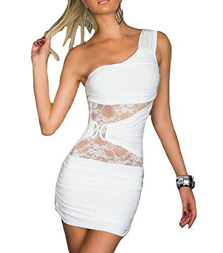 Damenkleid, kurz, für Mädchen, modisch, modern, Diskothek, Party, Abend, Abschlussball, Party, elegante Braut, Zeremonie, Weiß L