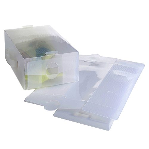 VonHaus Shoe Storage Box - 20 Pack Transparent Clear Plastic, Stackable and Foldable Boxes Shoes Holder - Tidy Organiser