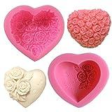 SUNSK Silikon Fondant Kuchen Formen 3D Rosen Blumen Herz Silikonformen Schokoladenformen DIY Kuchen...