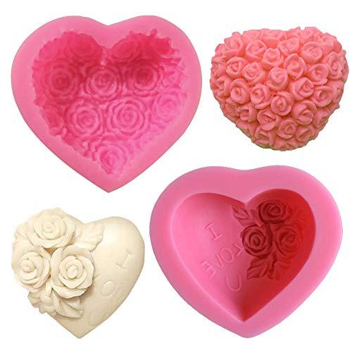 SUNSK Moldes de Pastel de Silicona Fondant 3D Molde de Corazón Flores...