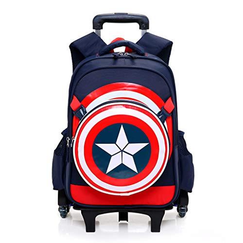 YeMao Super Hero Sei Ruote Zaino Set per Bambini, elementare Studenti Trolley Scuola Caso Borse Zaino Ragazzo in Tessuto Oxford Vacanze,Captain America B-43 * 19 * 32CM