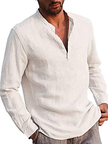 Geagodelia Camicia a Manica Lunga da Uomo in Lino di Cotone con Bottoni Maglietta Estate Henley T-Shirt con Collo in Piedi Tinta Unita Magliette Larghe Casual da Spiaggia (Bianco, M)