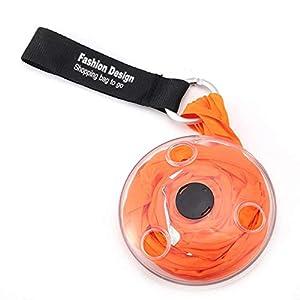 TIANTING - Bolsa de 4 Bolsas portátil retráctil en Bolsa, Reutilizable, Plegable, ecológica, para Compras, Bolsas de Hombro, Organizador con mosquetón, Bolsa de Compras, Naranja