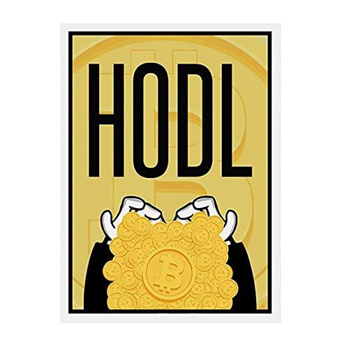 JLFDHR Cuadro De Alec HODL, Pintura En Lienzo, Carteles De Bitcoin, Moneda, Decoración del Hogar, Dinero, Arte De Pared para Sala De Estar-60X80Cmx1 Sin Marco