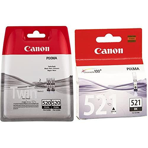 Canon PGI-520 2 Cartuchos Twinpack de Tinta Original Negro para Impresora de Inyeccion de Tinta Pixma + CLI-521 Cartucho de Tinta Original Negro para Impresora de Inyeccion de Tinta Pixma