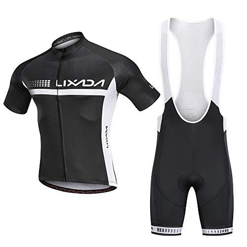 Lixada Traje de Ciclismo Hombre, Conjunto de Camiseta de Manga Corta MTB Transpirable para Verano y Otoño, Jersey + Pantalones Cortos y Babero Acolchado para Ciclismo Deportes al Aire Libre