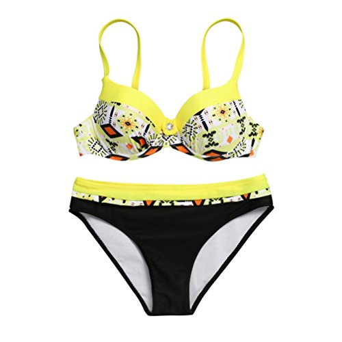 OverDose Damen Padded Push-Up-BH Gemusterte Schlinge Bikini Set Badeanzug Badeanzug Bademode Beachwear Badeanzüge(Gelb,XXL)