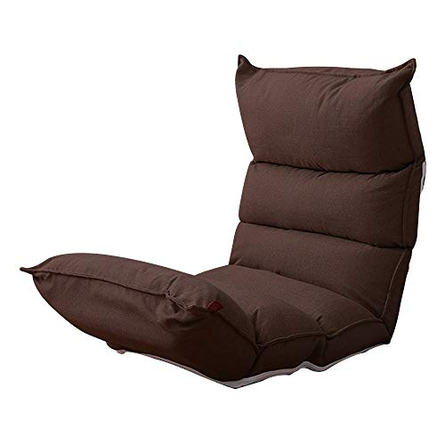 Bodenstuhl Faul Freizeit Sofa Multi-Position Adjustable Floor Lounge Chair abnehmbar und waschbar Moon Chair Bett Sessel Kind for Balkon Erkerfenster (Color : Dark Coffee Color)