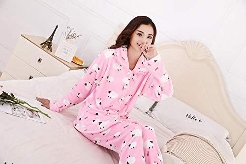 SleepWears badjas pyjama's dames lief gebreid vest dik warm flanel Home Service pak