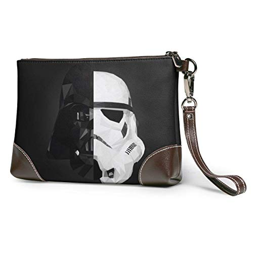 EDFG Darth Vader Stormtrooper Star War Echte Leder Geldbörsen Telefonkarte Brieftaschen Zip Wallet Wristlet Clutch Taschen Clutches Geldbörsen für Frauen/Männer