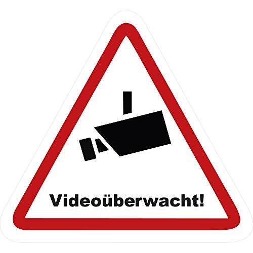 kleberio® 1 Selbstklebende Aufkleber Videoüberwachung - Achtung Videoüberwachung - 5 x 4,5 cm Hinweisschild Warnschild Kameraüberwachung Alarmanlage alarmgesichert Privatgrundstück verboten