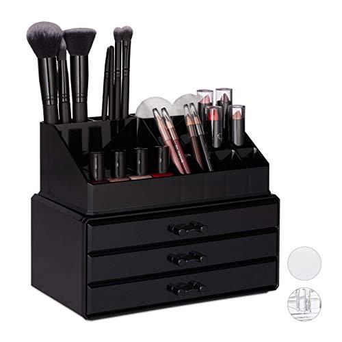 Relaxdays, schwarz Make Up Organizer klein, 2-teilige Schminkaufbewahrung mit Schubladen,...