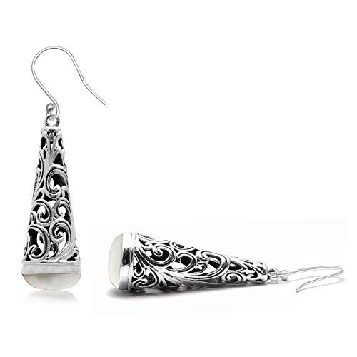 Silver Palace Pendientes colgantes de plata de ley 925 con filigrana de hoja larga para mujeres y niñas