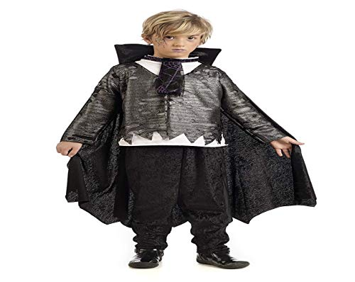 Vampirlord Kostüm Kinder 2tlg Oberteil mit Umhang u Hose perfekt zu Halloween u Karneval schwarz grau - 9/11 Jahre