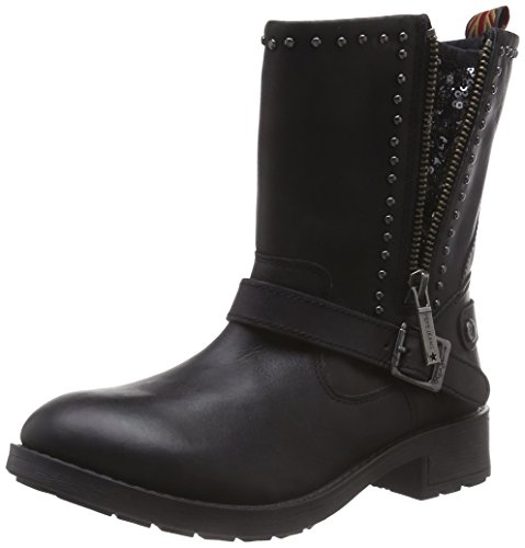 Pepe Jeans London Damen Pimlico Sequins Biker Boots, Schwarz (999BLACK), 39