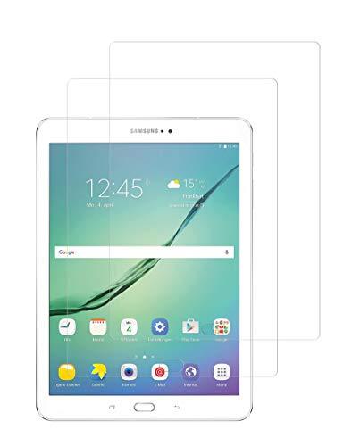 TECHKUN Protector de pantalla de cristal templado para Samsung Galaxy Tab S2 9.7 y Samsung Galaxy Tab S3 9.7 (2 unidades)