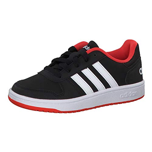 Adidas Hoops 2.0 K, Zapatos de Baloncesto Unisex Adulto, Multicolor (Core Black/FTWR White/Hi/Res Red S18 B76067), 38 EU