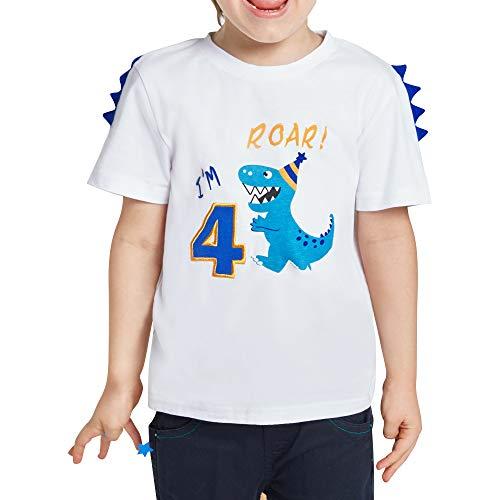 AMZTM Dinosaurier T-Shirt 4. Geburtstag Jungen Kinder 4 Jahre B-Day Dino Shirt Kurzarm Geschenk 100% Baumwolle Pullover T-Rex Stickgrafik Weiß Tshirt (4year-120, Weiß)