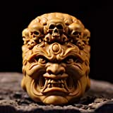 XG Inc JP144-5x3.5x3.5 cm (2' Stunning Boxwood Carving Netsuke : Gothic Devil Mask