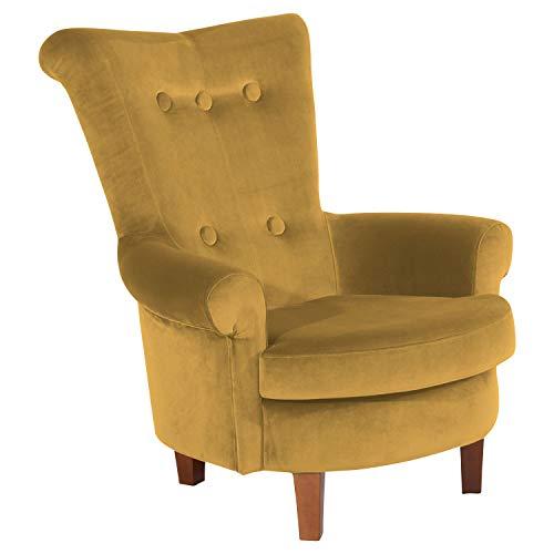 Max Winzer® Ohrensessel Tilly, mais (gelb), Samtvelours, Retro, Romantik, Landhaus, 86 x 90 x 99 cm