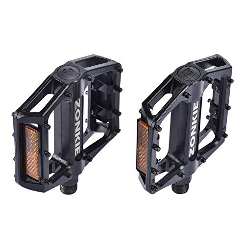 zonkie Bike Pedals, Road Bike Pedals, MTB Pedals, Flat Aluminum Alloy Platform Sealed Bearing Axle 9/16 inch