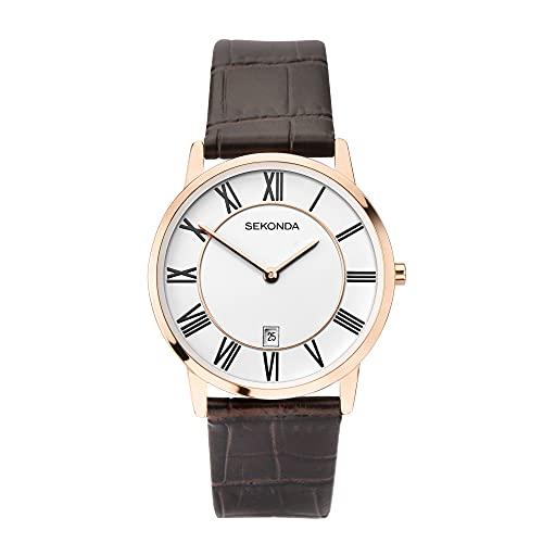 Sekonda Reloj clásico de cuarzo con esfera blanca y correa de cuero marrón para hombre 1780.00