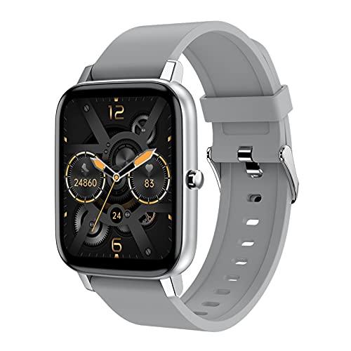 QFSLR Smartwatch Reloj Inteligente Reloj Deportivo con Monitor De Frecuencia Cardíaca Monitor De Presión Arterial Monitoreo De Oxígeno En Sangre Podómetro,Gris